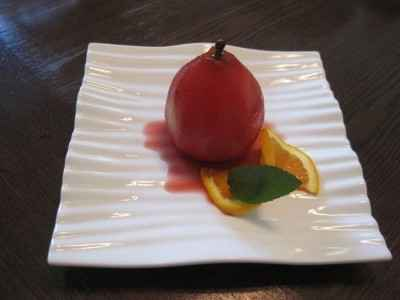 Poached pear in ice wine
